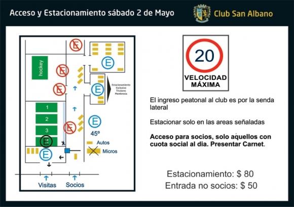 Accesos y estacionamiento para el sábado 2 de mayo