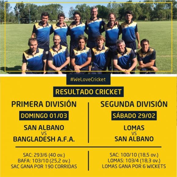 Resultados Cricket 1/3