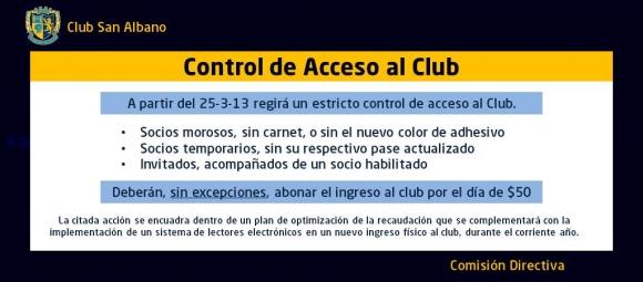 Control de ingreso al club