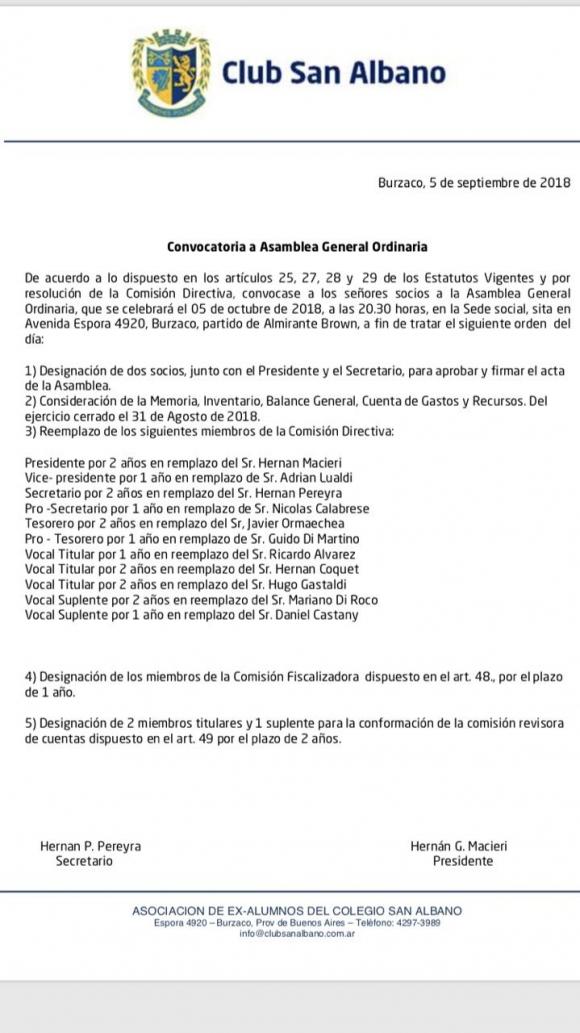 Convocatoria a Asamblea General Ordinaria