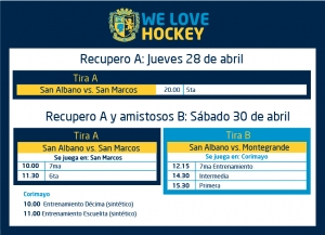 Hockey: actividades del 28 y 30/4