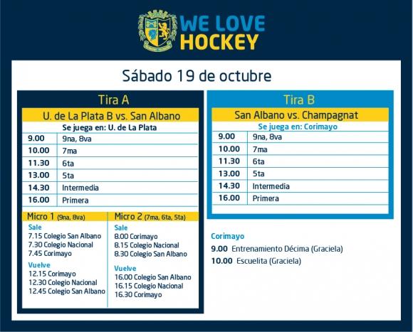 Hockey: Actividades del 19 de octubre