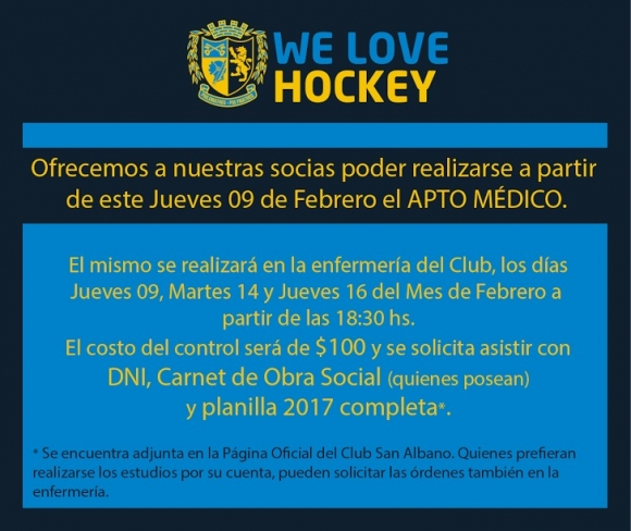 Hockey: hacete el apto médico en Corimayo