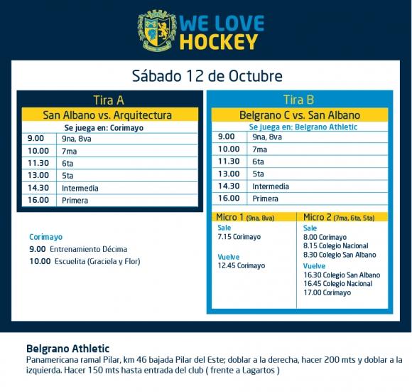 Hockey: Actividades del 12 de octubre
