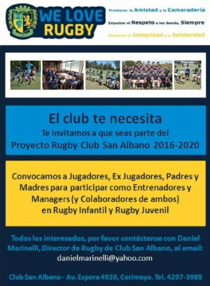 Proyecto Rugby 2016-2020: Sumate!