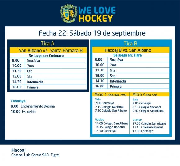 Hockey: Actividades del 19/9