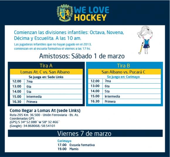 Hockey: Amistosos del 1 de marzo