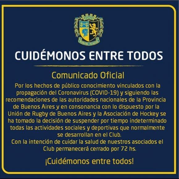 Actividades suspendidas y Club Cerrado