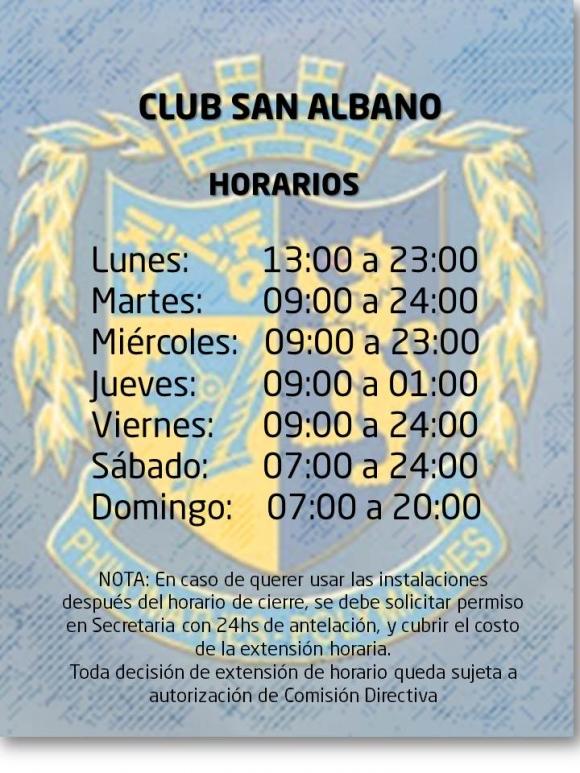 Horarios del Club