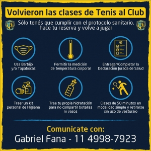 ¡Vuelven las clases de tenis al Club!