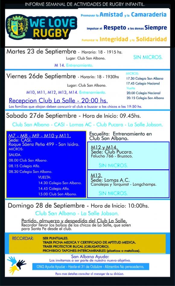 Infantiles 27/9: Encuentro con clubes
