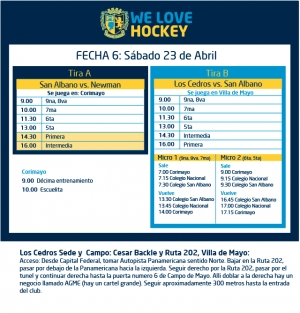 Hockey: Actividades del 23 de abril