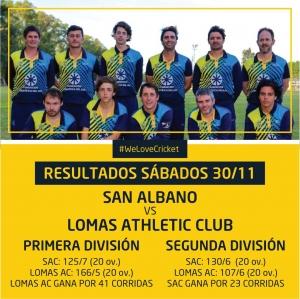 Resultados ante Cricket 30/11