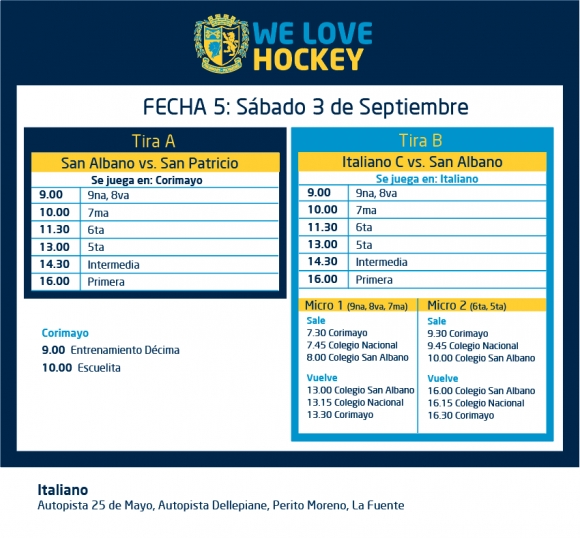 Hockey: las actividades del 3 de septiembre