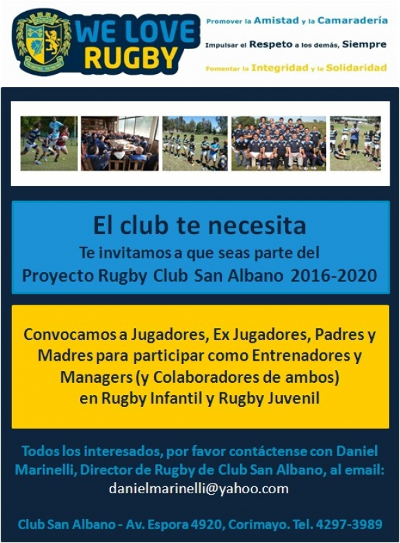 Sumate al Proyecto Rugby San Albano 2016-2020