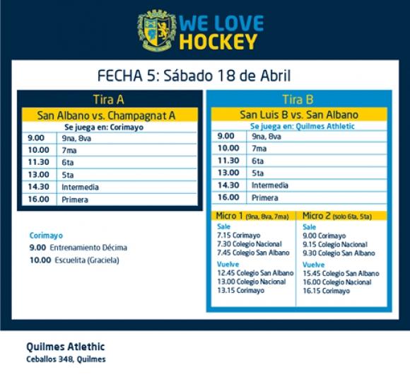 Hockey: Actividades del 18/4